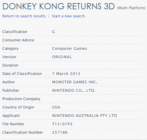 Donkey Kong Country Returns 3D Classification
