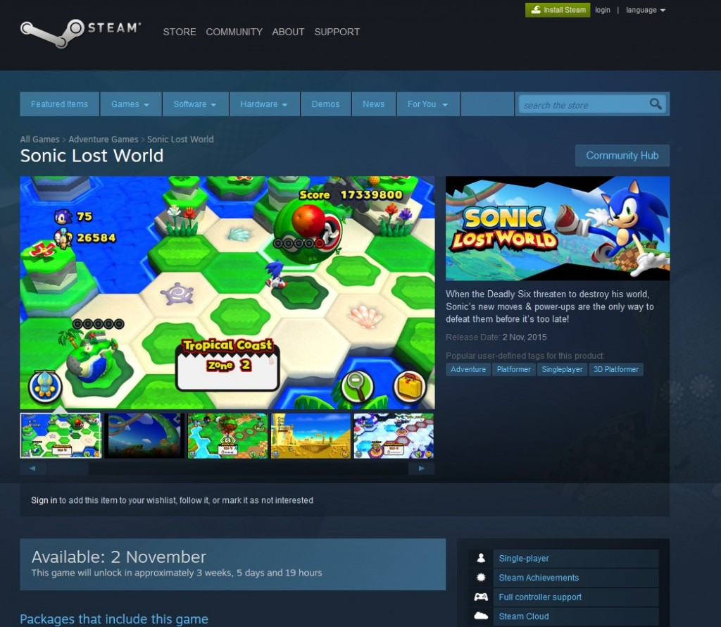 sonic lost world steam