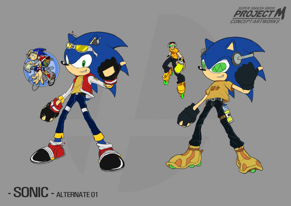 Sonic Alt Design 01 - Channel Clothes & Jet Set Sonic (options sheet)