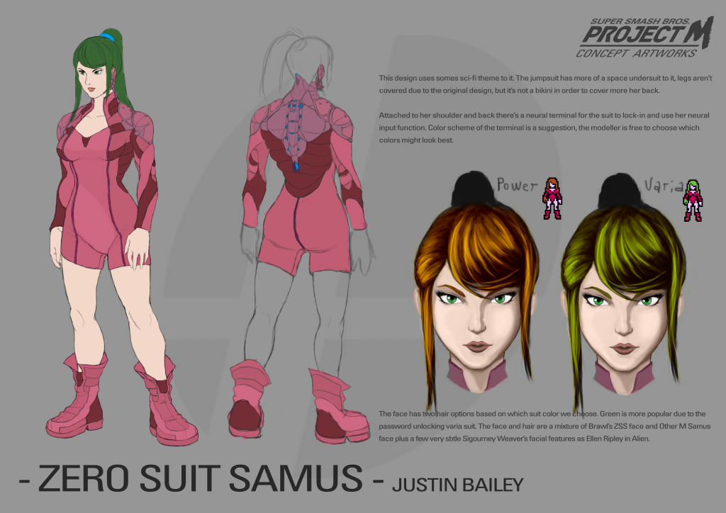 Zero Suit Samus Alt Design 01 - Justin Bailey (hair color option sheet)