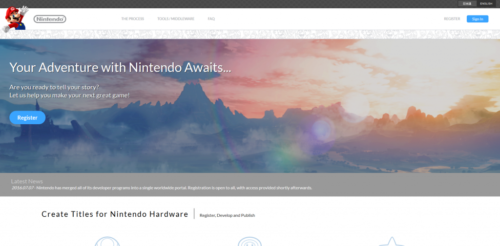 nintendo developer site