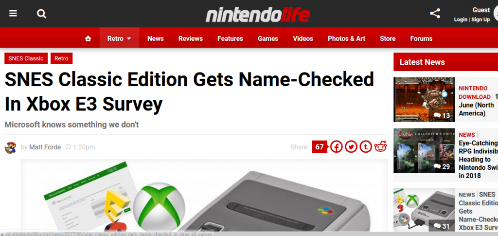 Nintendo Life Article