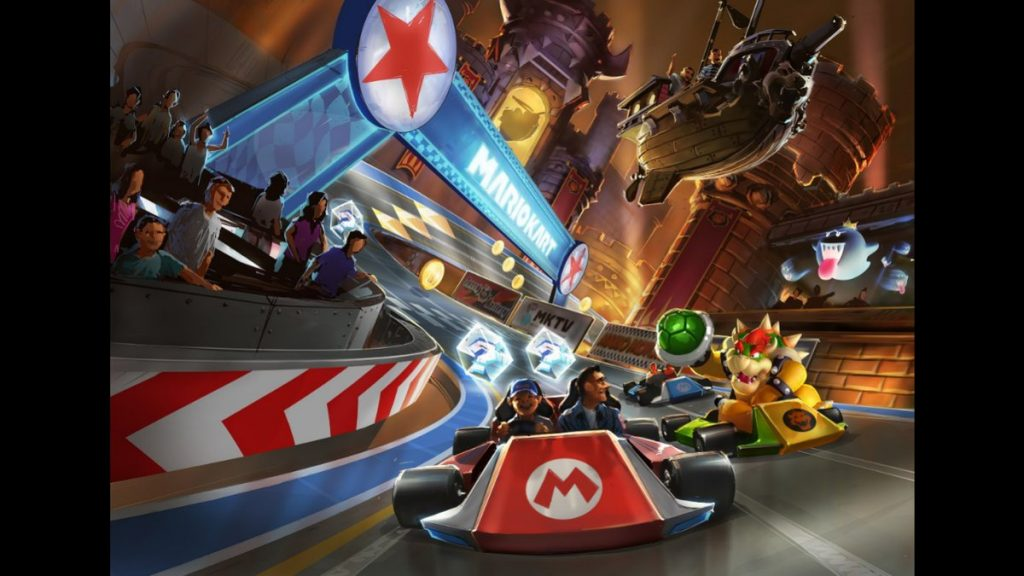 Racing with Mario at the Mario Kart attraction