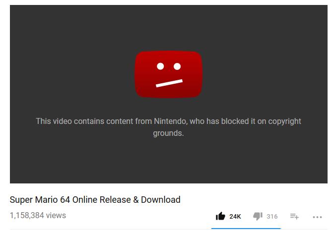 Mario 64 Online Video Takedown