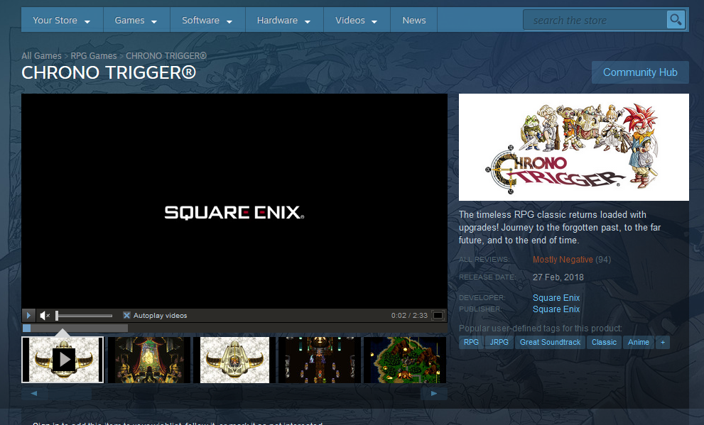 Chrono Trigger Steam Page