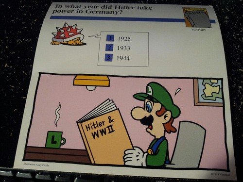Luigi reads about World War 2
