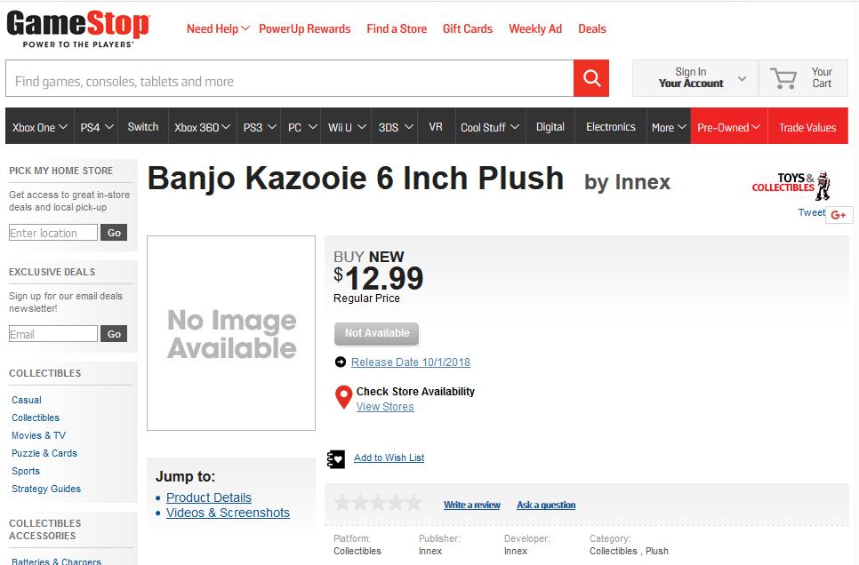 Banjo-Kazooie Merch Page
