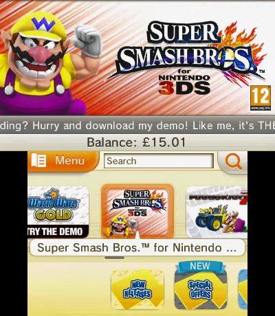 Wario Advertising Super Smash Bros