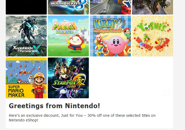 Nintendo Birthday Email