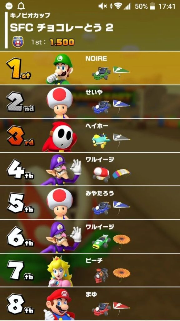Mario Kart Tour Race Results