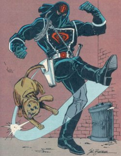 Cobra Commander dog kicking