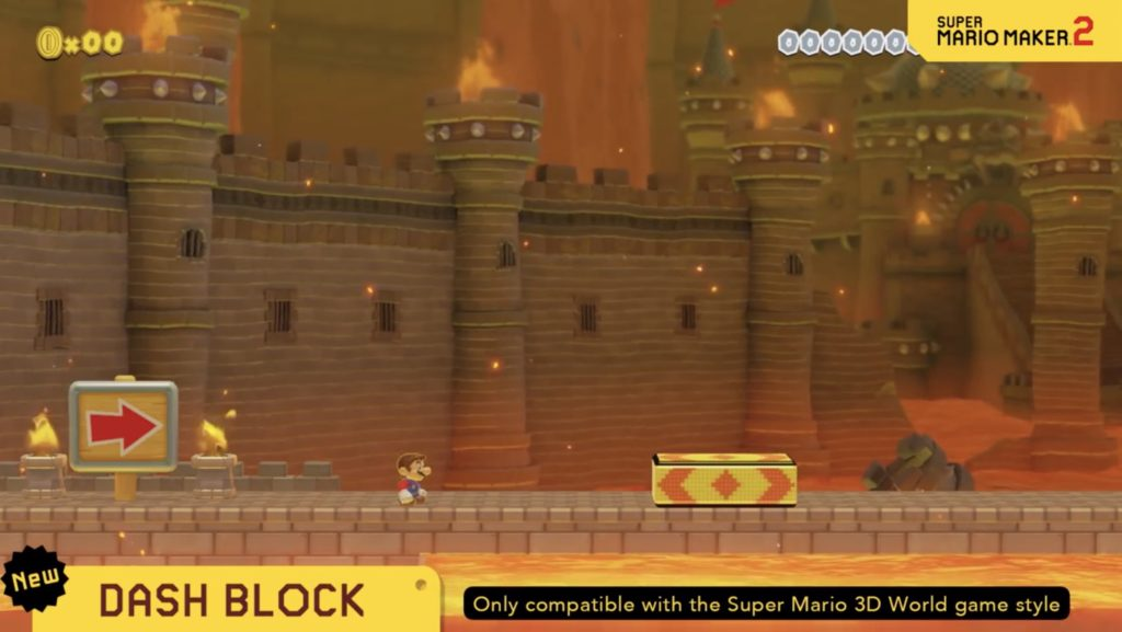 Dash Blocks in Mario Maker 2