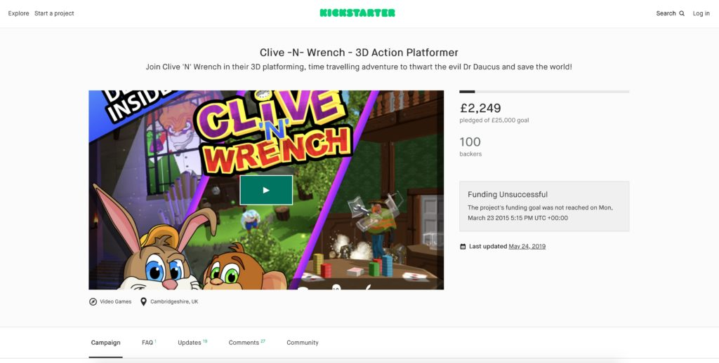Clive 'N' Wrench Kickstarter
