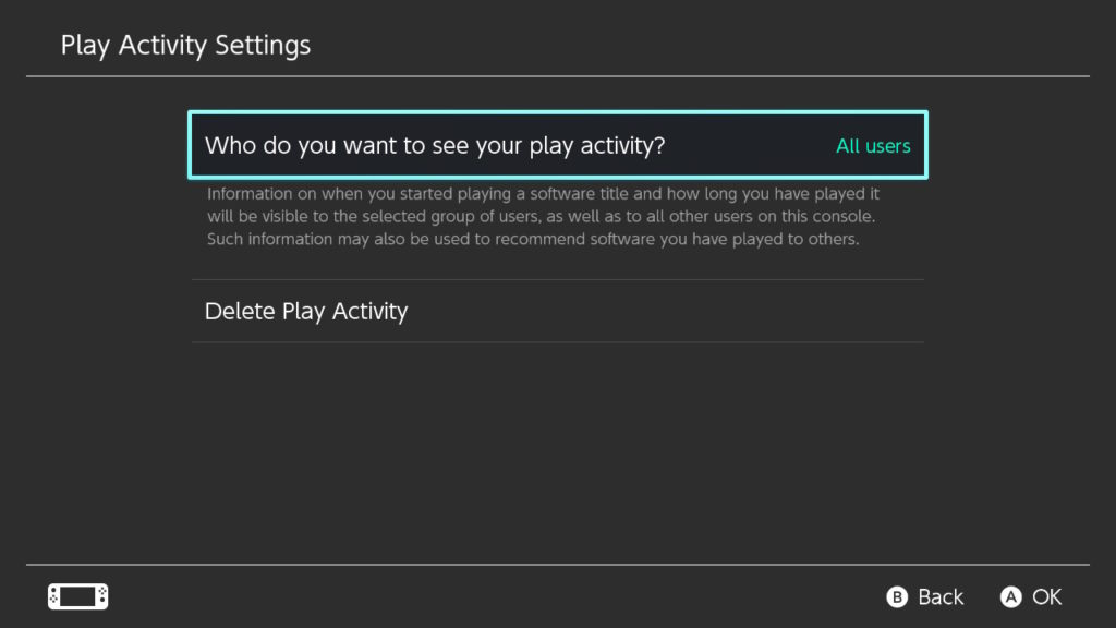 Play Activity Settings