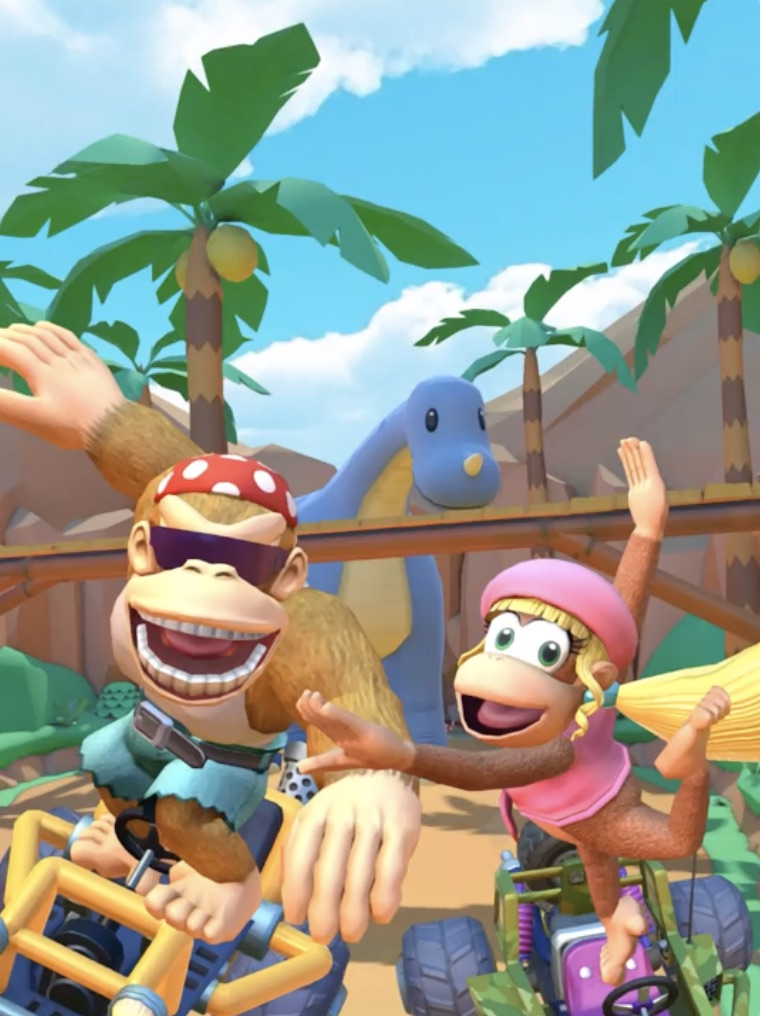 Funky Kong and Dixie Kong in Mario Kart Tour