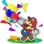Mario throwing confetti
