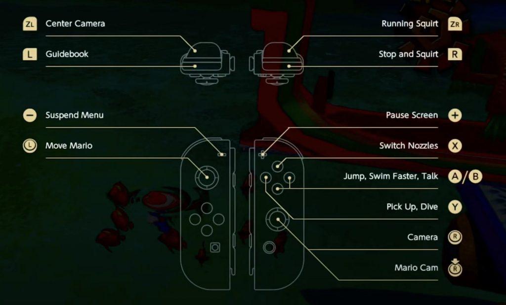 Mario Sunshine 3D All Stars Controls