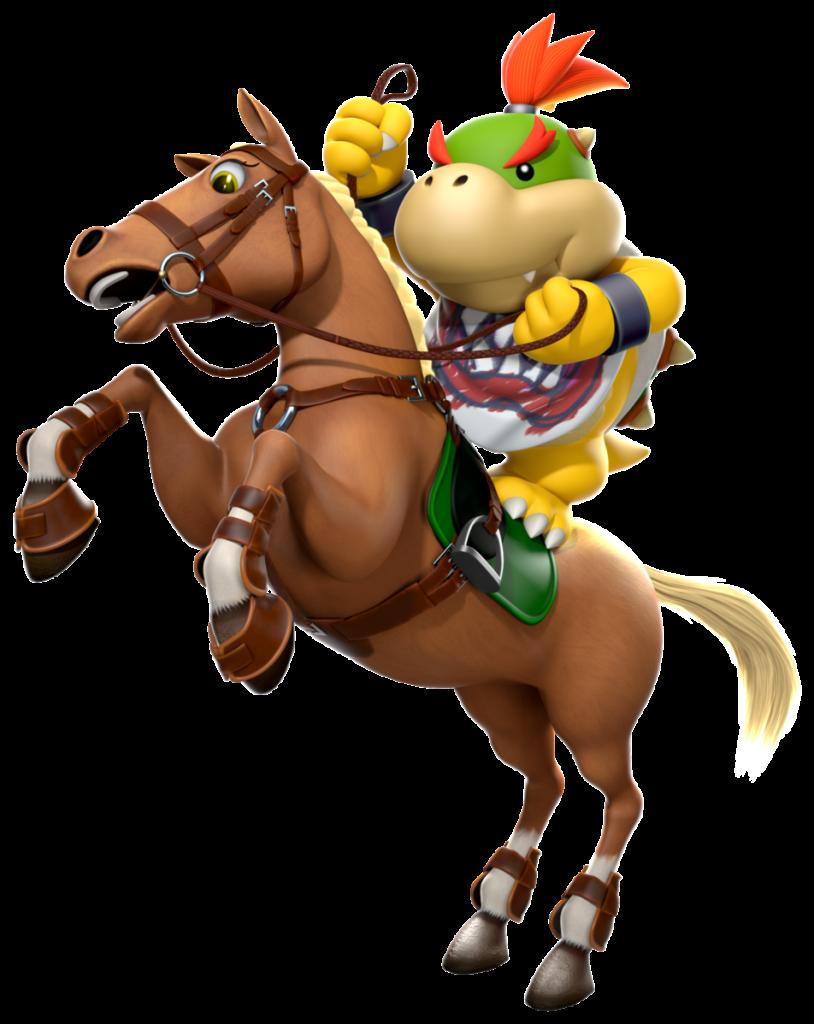 Bowser Jr riding a horse