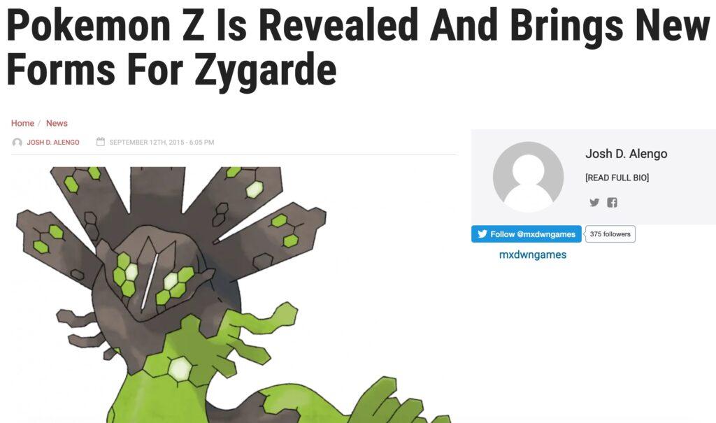 Pokemon Z Article
