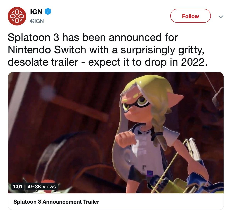 Splatoon 3 IGN Tweet